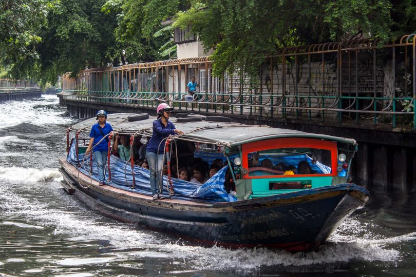 Using the canal boats in Bangkok, Thailand