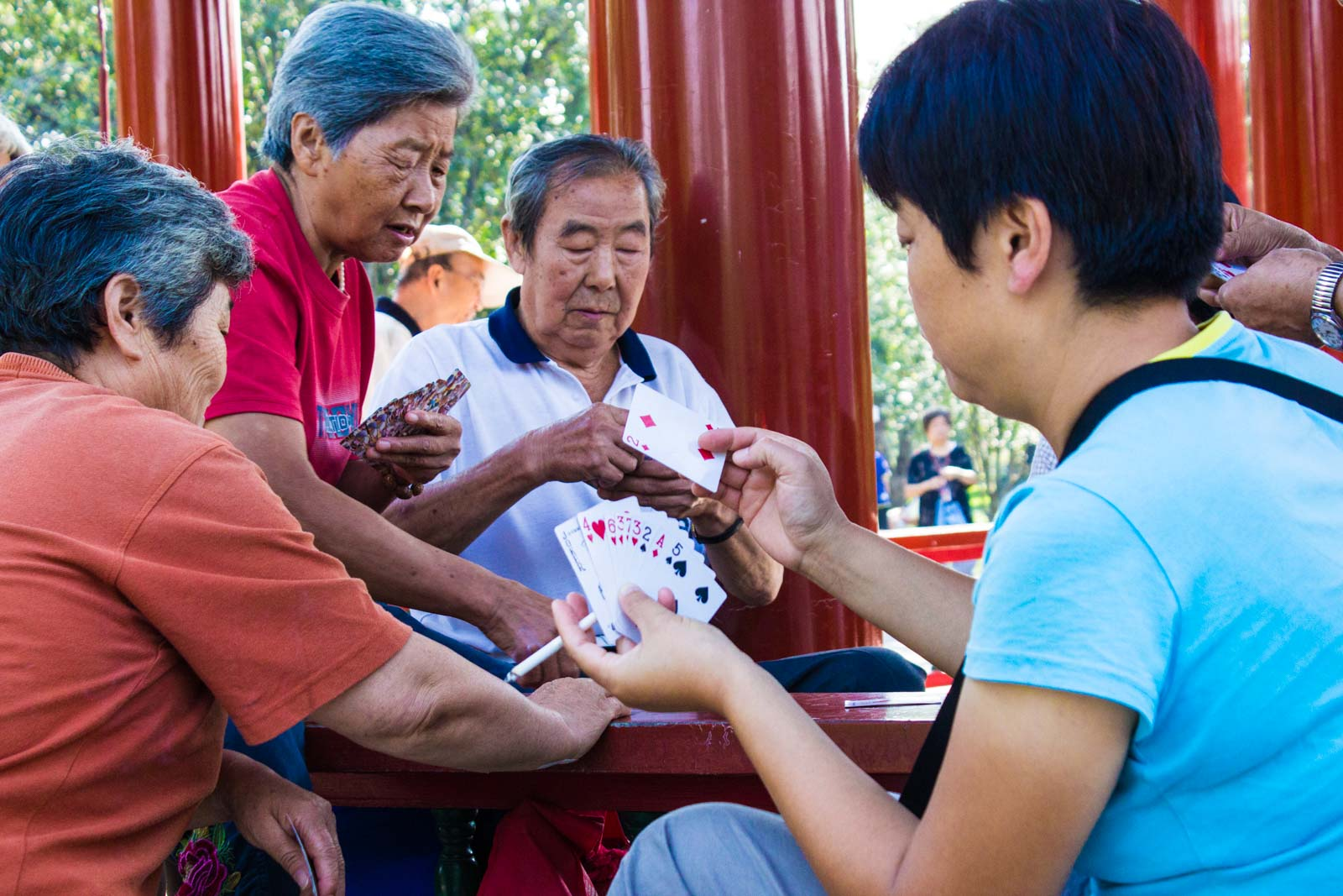 Temple of Heaven, Beijing park with old people exercising