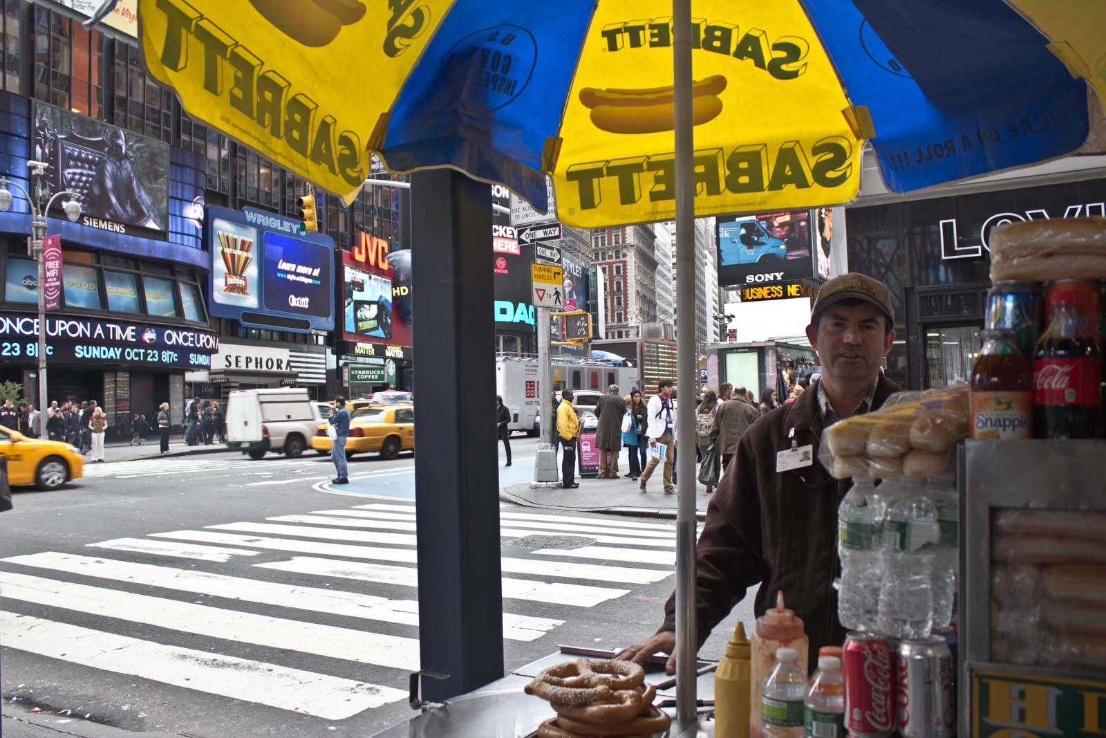 New York pretzel man in Times Square