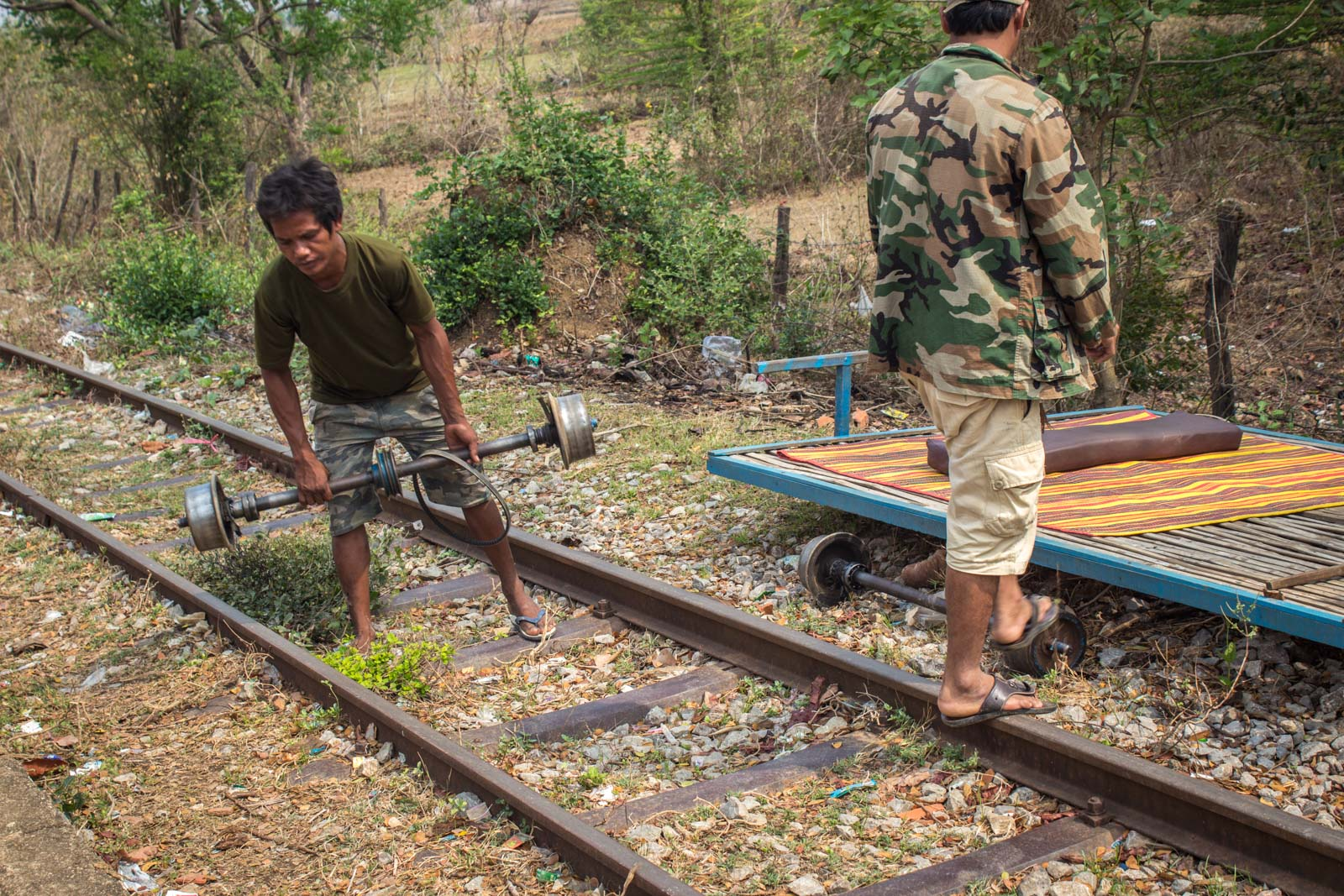 Battambang bamboo train, bamboo railway, Cambodia