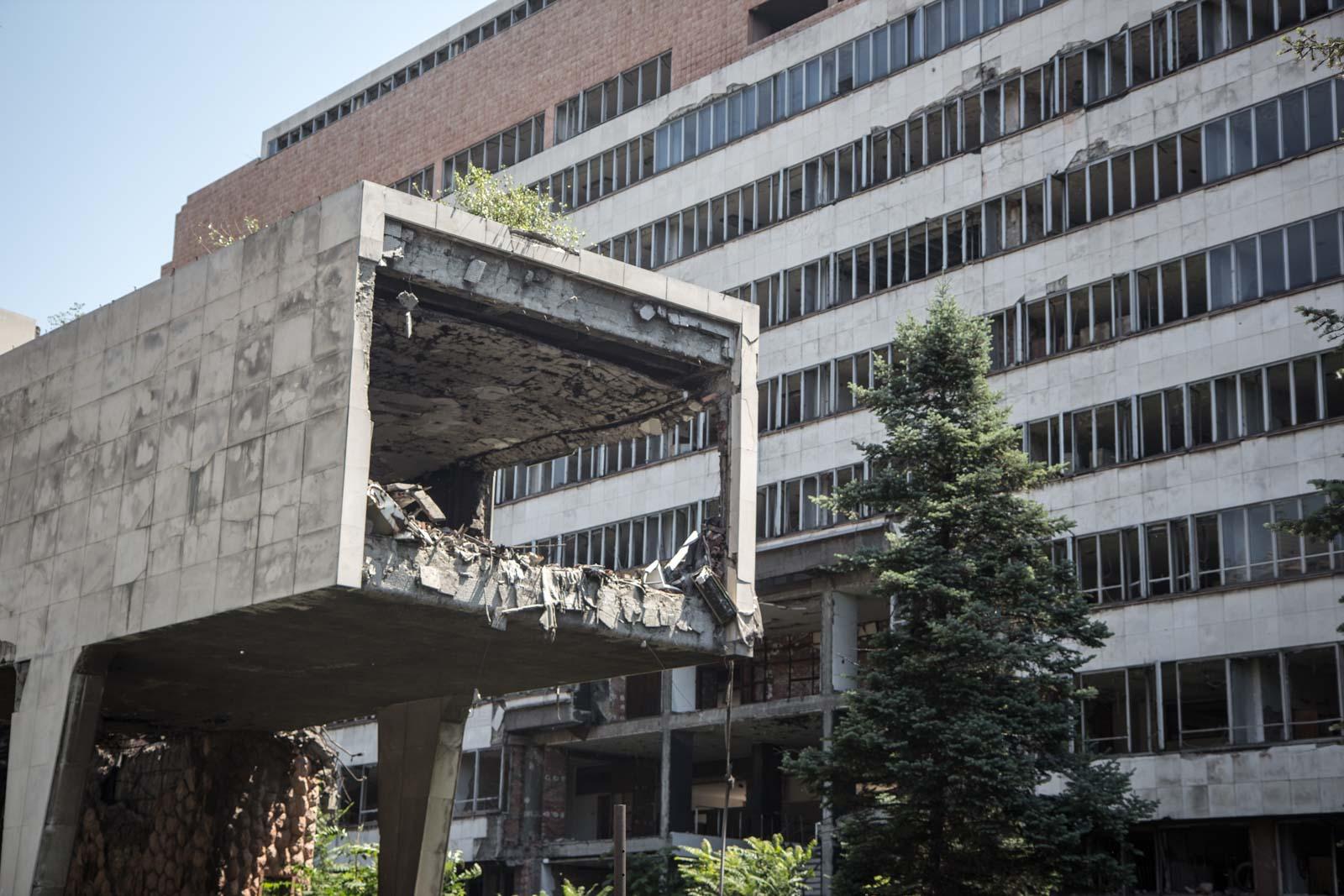 ruined buildings from belgrade bombings, serbia