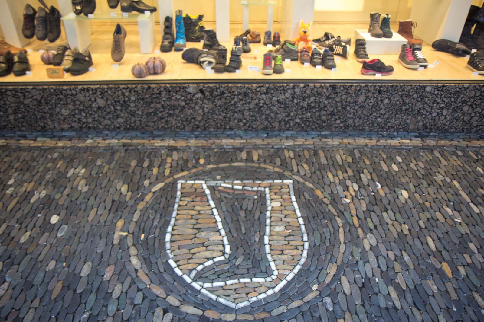Mosaics on ground in Freiburg, Germany