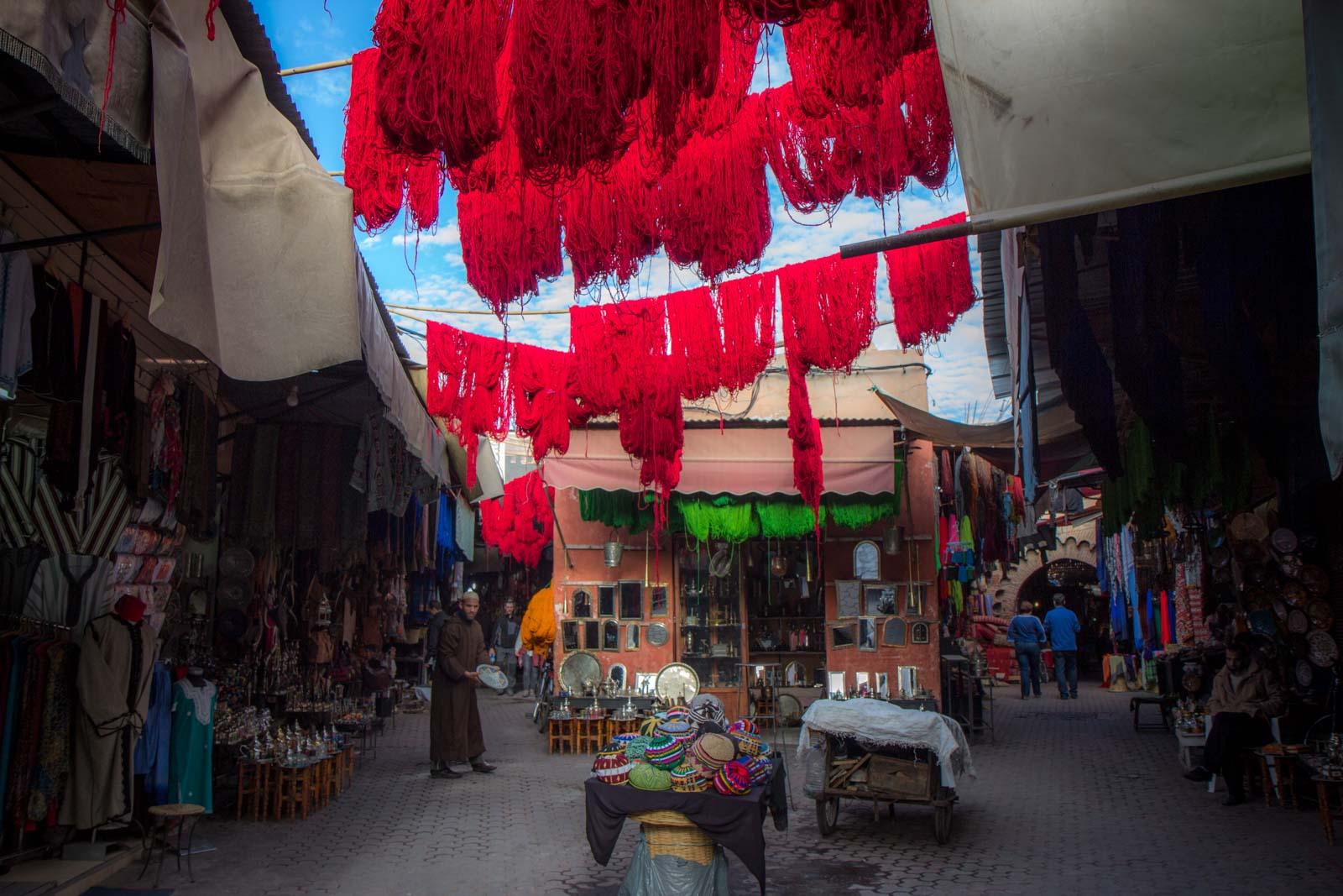 Marrakech souks in the medina, Morocco