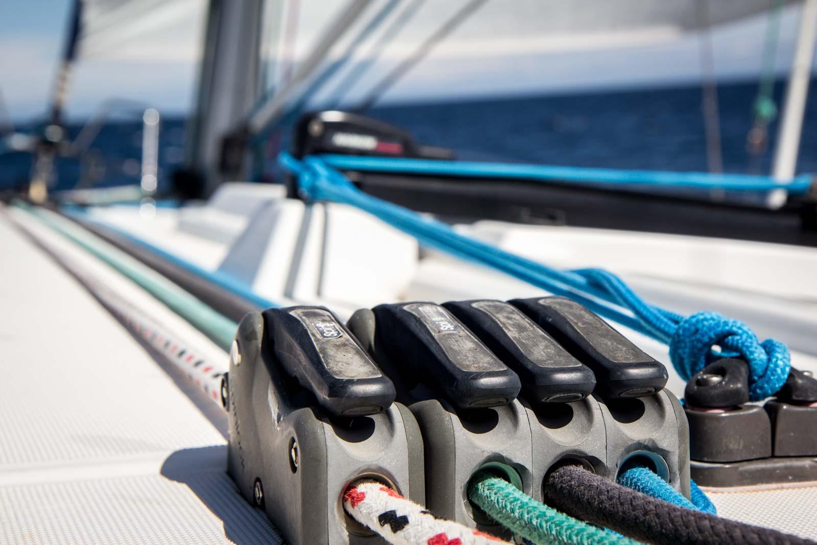 Sailing a yacht in Menorca, Spain