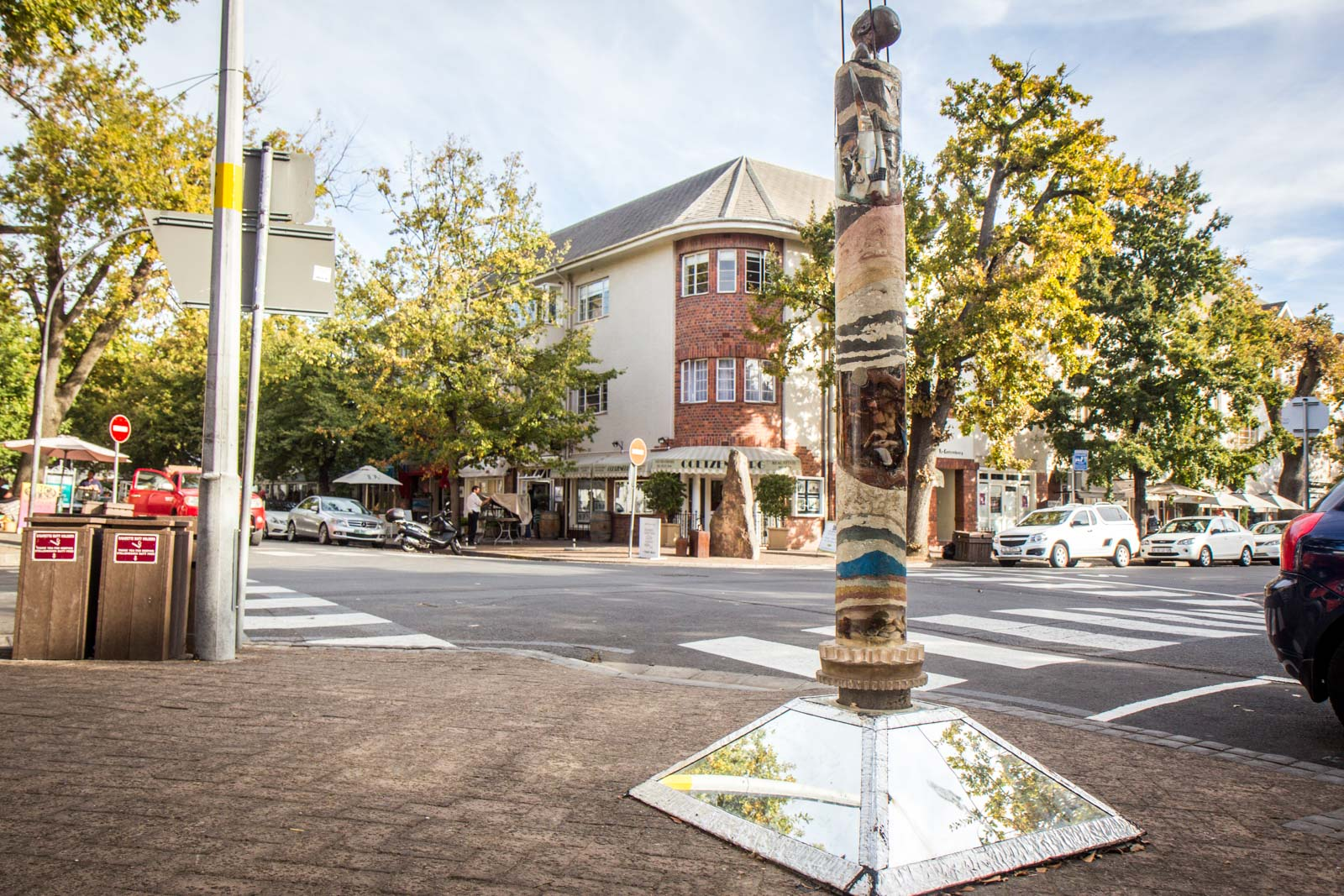 public art in stellenbosch, sculptures, reflections