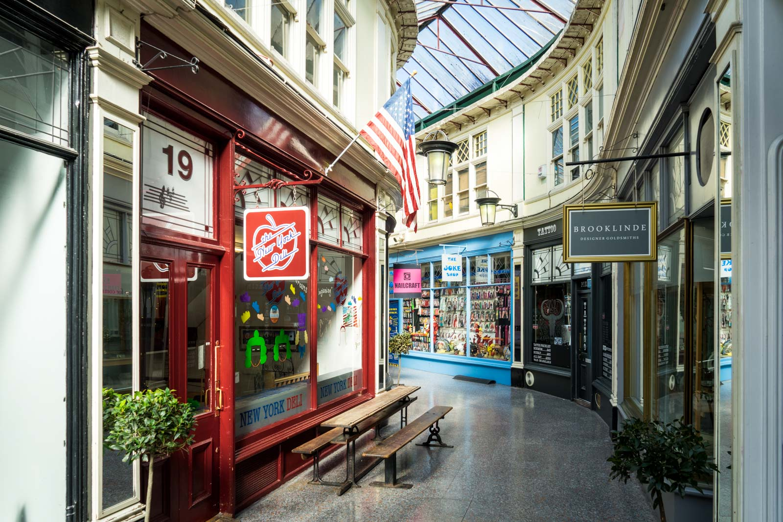 Historic shopping arcades in Cardiff, Wales