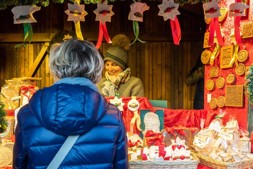 Christmas markets on a lake