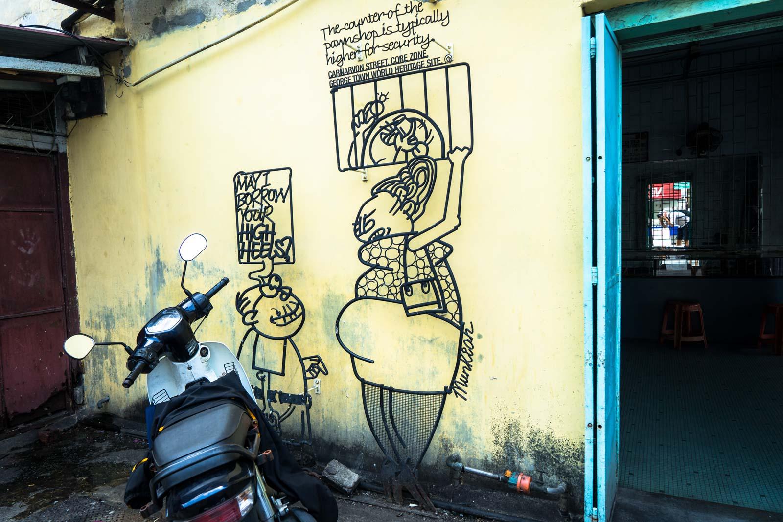Steel rod comic art, George Town, Malaysia