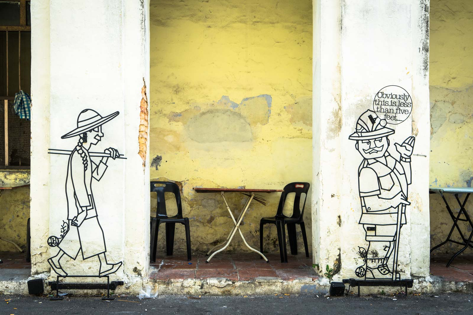 The comic art of steel rods, George Town, Malaysia