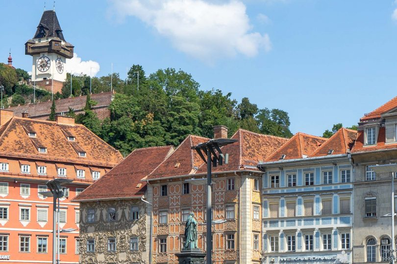 Graz's old town and modern city