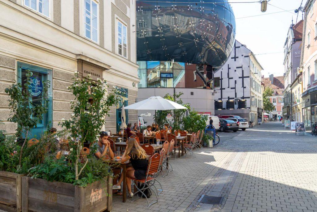 Outdoor cafes in Graz, Austria