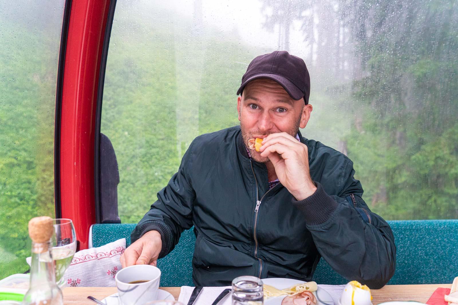Almkopfbahn Bichlbach breakfast, Tirol, Austria